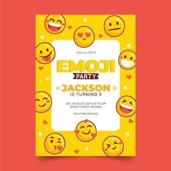Hand gezeichnete emoji-geburtstagseinladung