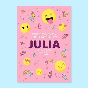 Hand gezeichnete emoji-geburtstagseinladungsschablone