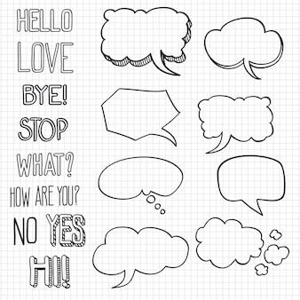 Hand gezeichnete emotionale phrasen