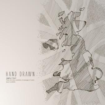 Hand gezeichnete england karte