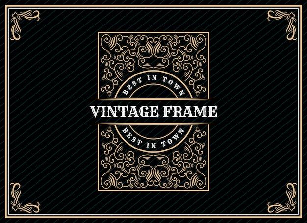 Hand gezeichnete erbe luxus vintage retro logo design mit dekorativen rahmen für hochzeitseinladungskarte text und schrift schaufenster premium