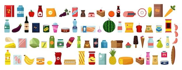 Hand gezeichnete essen und getränke kritzeleien gesetzt. sammlung von bunten karikaturart-zeichnungsskizzenschablonen von mahlzeitobstgemüse in rohem auf weißem hintergrund. gesunde ernährung junk food illustration.