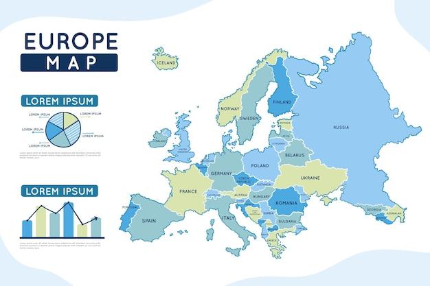 Hand gezeichnete europa-karten-infografik