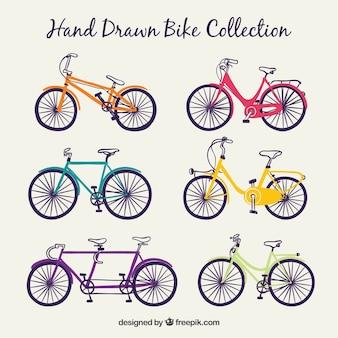 Hand gezeichnete fahrradsammlung