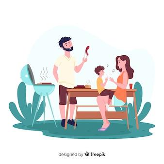 Hand gezeichnete familie, die draußen tätigkeitssammlung tut