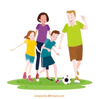 Hand gezeichnete familie, die fußball spielt