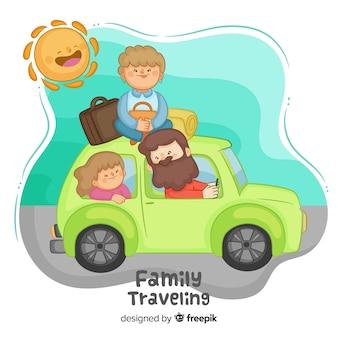 Hand gezeichnete familie, die mit dem auto hintergrund reist