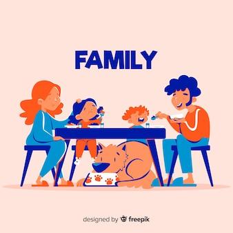 Hand gezeichnete familie, die mit hund um tabelle sitzt