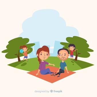 Hand gezeichnete familie, die picknick tut