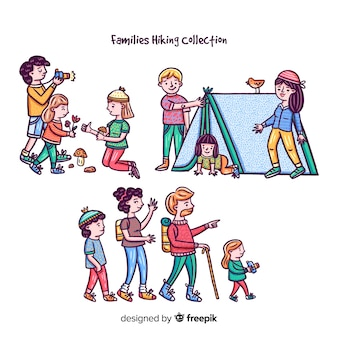 Hand gezeichnete familie, die sammlung wandert