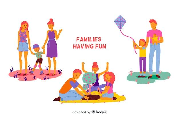 Hand gezeichnete familie, die tätigkeiten im freien tut