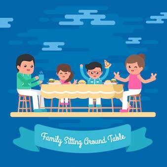 Hand gezeichnete familie, die um freien vektor der tabellenillustration sitzt