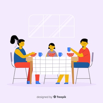 Hand gezeichnete familie, die um tabellenhintergrund sitzt