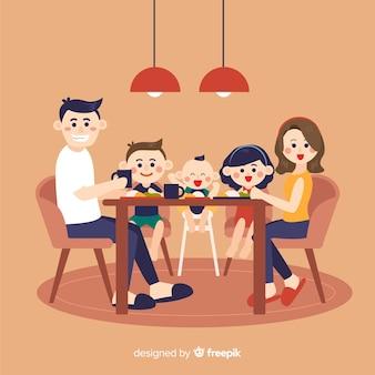 Hand gezeichnete familie, die um tabellenillustration sitzt