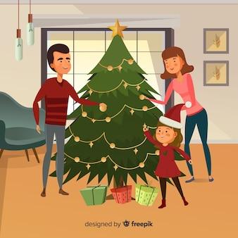 Hand gezeichnete familie, die weihnachtsbaum-weihnachtshintergrund verziert