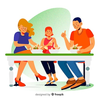 Hand gezeichnete familie, die zusammen szene isst