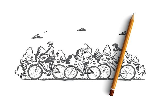 Hand gezeichnete familie mit kindern, die fahrradkonzeptskizze reiten