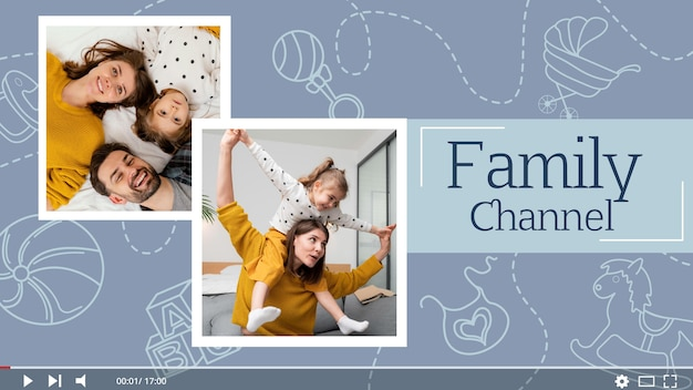 Hand gezeichnete familie youtube thumbnail vorlage