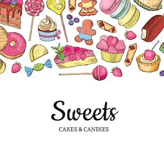 Hand gezeichnete farbige süßigkeiten shop