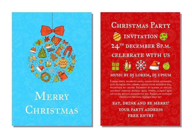 Hand gezeichnete farbige weihnachtselemente mit weihnachtsmann, baum, geschenken und glocken-partyeinladungsschablone mit weihnachtsbaumspielzeug und platz für textillustration