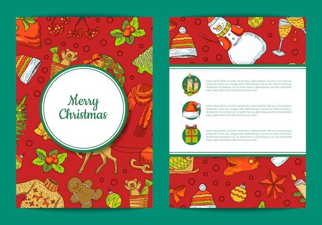 Hand gezeichnete farbige weihnachtselemente mit weihnachtsmann, weihnachtsbaum, geschenk- und glockenkartenschablone mit rahmen, schatten und platz für textillustration