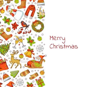 Hand gezeichnete farbige weihnachtselemente mit weihnachtsmann, weihnachtsbaum, geschenken und glockenhintergrund mit platz für textillustration