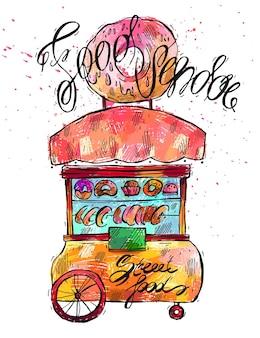 Hand gezeichnete farbillustration des straßenlebensmittelverkäufers