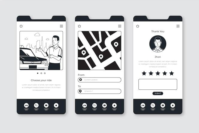 Hand gezeichnete farblose apps im flachen design