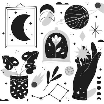 hand gezeichnete farblose illustrationen