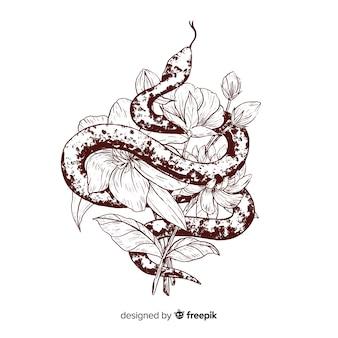 Hand gezeichnete farblose schlange mit blumenhintergrund