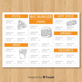 Hand gezeichnete fast-food-menü-vorlage