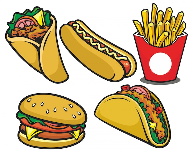 Hand gezeichnete fast-food-restaurant-illustration
