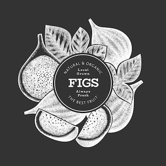 Hand gezeichnete feigenfruchtschablone. bio-illustration für frische lebensmittel auf kreidetafel. retro feigenfrucht-banner.