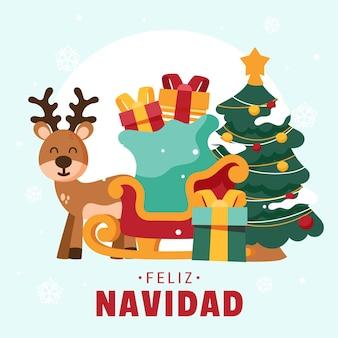 Hand gezeichnete feliz navidad