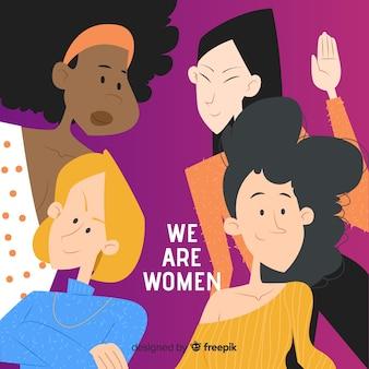 Hand gezeichnete feminismuszusammensetzung