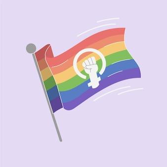 Hand gezeichnete feministische lgbt + flagge