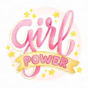 Hand gezeichnete feministische schriftzug frauenpower