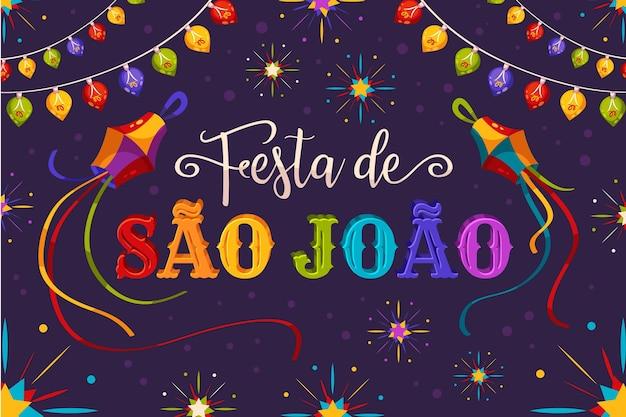 Hand gezeichnete festa de sao joao beschriftung