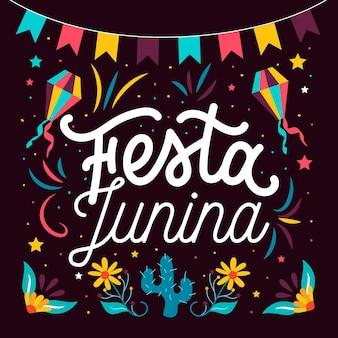 Hand gezeichnete festa junina beschriftung