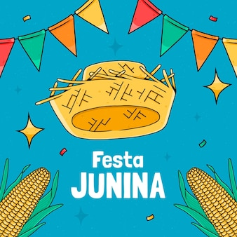 Hand gezeichnete festa junina illustration