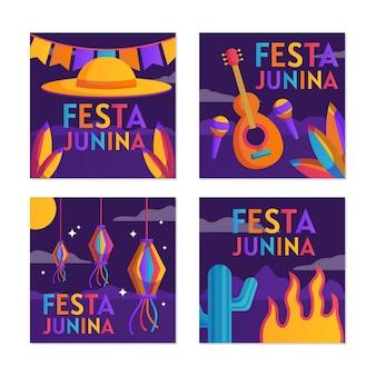 Hand gezeichnete festa junina kartensammelschablone