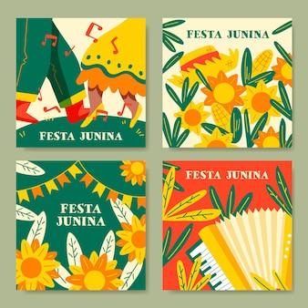 Hand gezeichnete festa junina kartensammlung