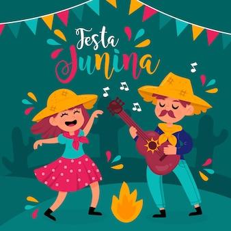 Hand gezeichnete festa junina leute, die in der nacht tanzen