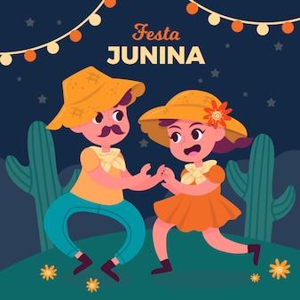 Hand gezeichnete festa junina leute, die zusammen tanzen