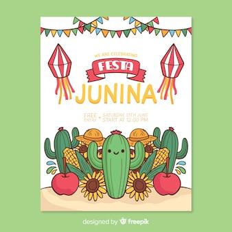 Hand gezeichnete festa junina plakatschablone
