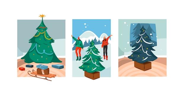 Hand gezeichnete festliche karte der frohen weihnachten und des guten rutsch ins neue jahrkarikatur mit niedlichen illustrationen des sammlungssatzes der weihnachtsbaumszenen