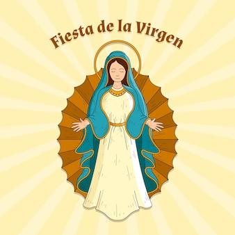 Hand gezeichnete fiesta de la virgen
