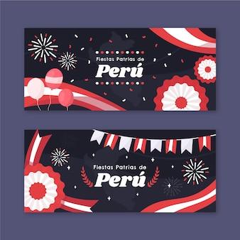 Hand gezeichnete fiestas patrias de peru banner gesetzt