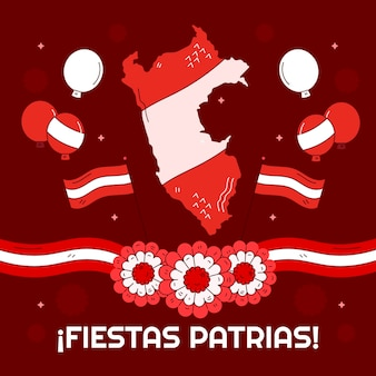 Hand gezeichnete fiestas patrias de peru illustration