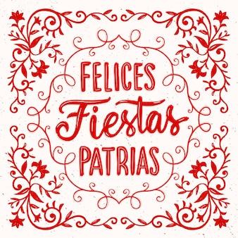 Hand gezeichnete fiestas patrias de peru schriftzug